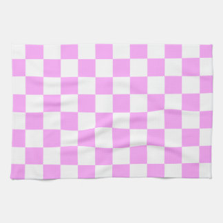Light Pink and White Checkerboard Pattern Tea Towel