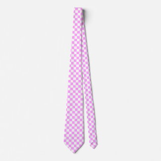 Light Pink and White Checkerboard Pattern Tie