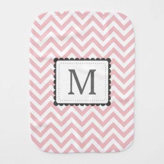 Light Pink And White Chevron Custom Monogram Baby Burp Cloth