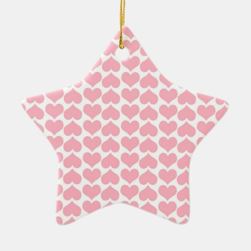 Light Pink and White Hearts Ornament