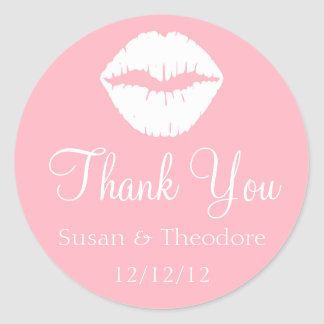 Light Pink and White Lips Thank You Sticker