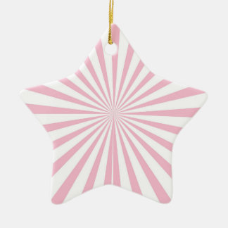Light Pink and White Radiant Stripes Double-Sided Star Ceramic Christmas Ornament