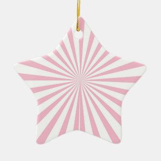Light Pink and White Radiant Stripes Ceramic Star Decoration
