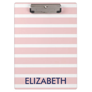 Light Pink and White Striped Monogram Clipboard