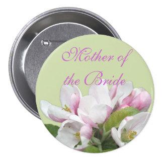 Light pink apple flower mother of the bride weddin 7.5 cm round badge