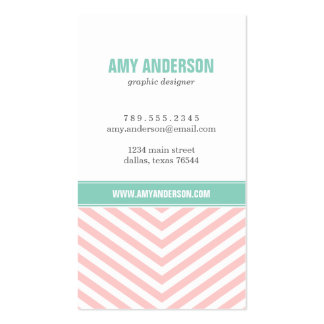 Light Pink & Aqua Modern Chevron Stripes Double-Sided Standard Business Cards (Pack Of 100)