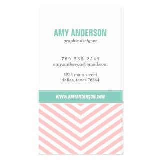 Light Pink & Aqua Modern Chevron Stripes Business Card