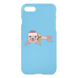 Light Pink Baby Seal with Santa Hat & Gold Bell iPhone 7 Case