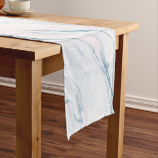 Light Pink Blue And White Marble Short Table Runner