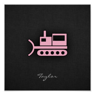 Light Pink Bulldozer Poster