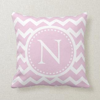 Light Pink Chevron Girly ZigZag Monogram Cushion