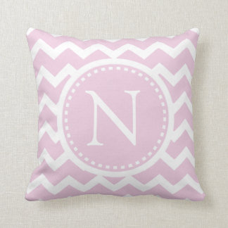 Light Pink Chevron Girly ZigZag Monogram Throw Pillow