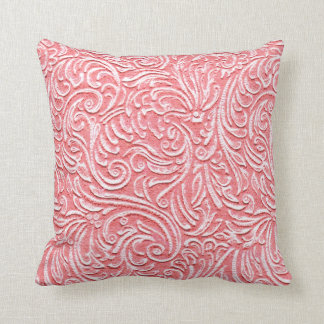 Light Pink Coral Vintage Tile 3D Look Beach Home Throw Pillow