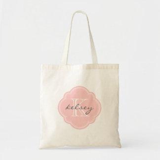 Light Pink Custom Personalized Monogram Budget Tote Bag