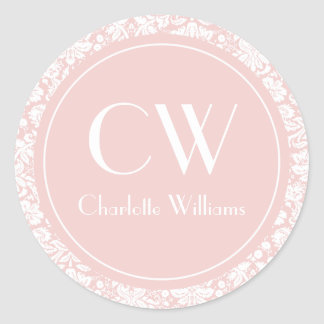 Light Pink Damask Monogram Classic Round Sticker