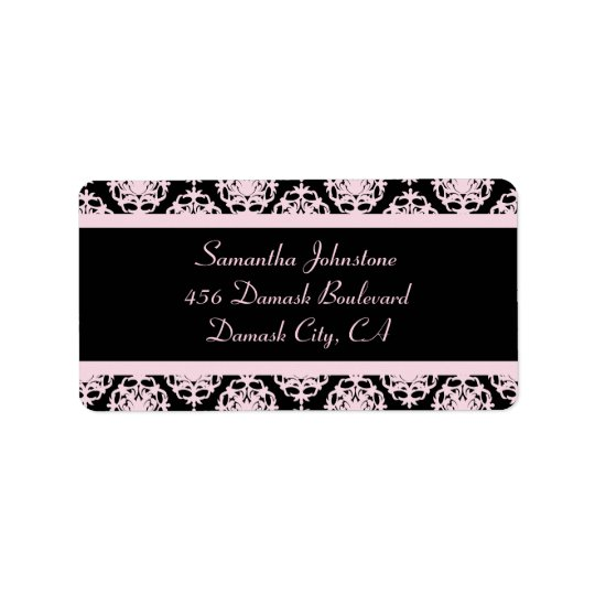 Light Pink Damask on Black Address Label
