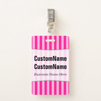 Light Pink & Deep Pink Stripes; Personalized Name ID Badge