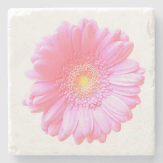 Light pink gerbera daisy stone beverage coaster