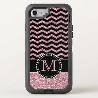 Light Pink Glitter Chevron Personalised Defender OtterBox Defender iPhone 8/7 Case