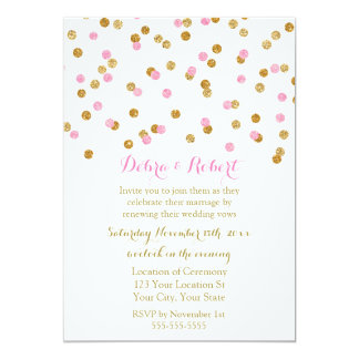Light Pink Gold Confetti Vow Renewal Invitation