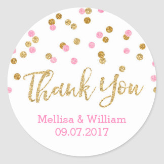 Light Pink Gold Confetti Wedding Favor Tags