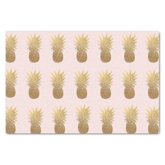 Light Pink Gold Pineapple Tissue Paper