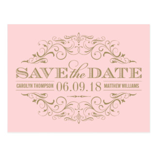 Light Pink Gold Save the Date | Swirl and Flourish Postcard