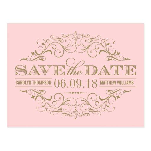 Light Pink Gold Save the Date | Swirl and Flourish Postcard