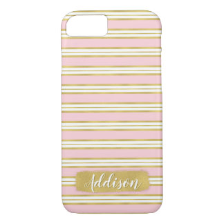 Light Pink Gold Stripe Pattern Custom Name iPhone 8/7 Case