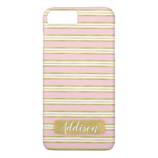 Light Pink Gold Stripe Pattern Custom Name iPhone 8 Plus/7 Plus Case