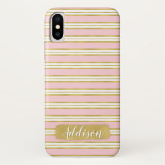 Light Pink Gold Stripe Pattern Custom Name iPhone X Case
