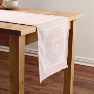 Light Pink Greek Key Frame #2 Initial Monogram Short Table Runner