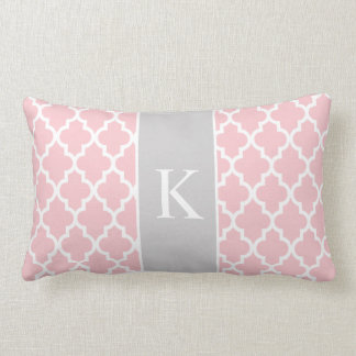 Light Pink Grey Moroccan Custom Monogram Lumbar Pillow