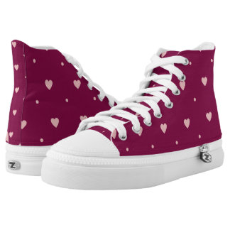 Light Pink Hearts and Polka Dots Hi Tops Printed Shoes