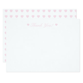 Light Pink Hearts Thank You Flat Card