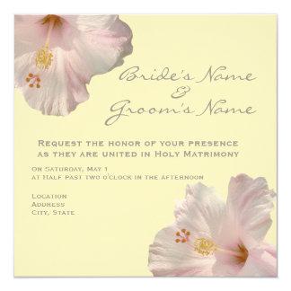"Light Pink Hibiscus Wedding Invitation 5.25"" Square Invitation Card"
