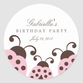Light Pink Ladybug Party Favor Stickers