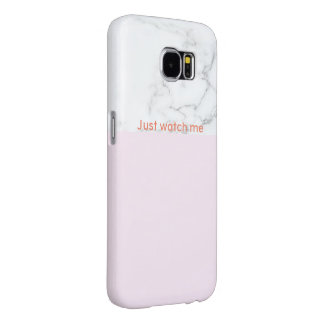 Light pink - marble Samsung Case with text