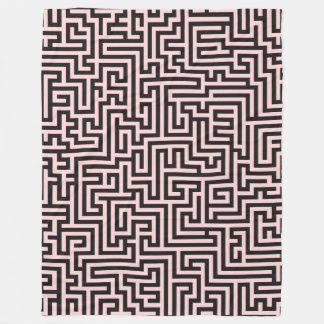 Light Pink On Black Geometric Pattern Fleece Blanket