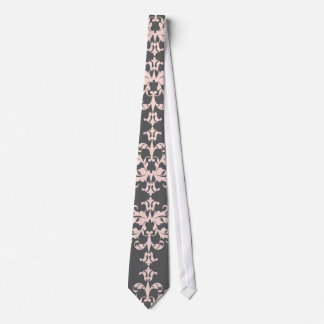 Light pink on Charcoal Grey Damask Pattern Tie