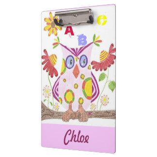 Light pink owl clipboard