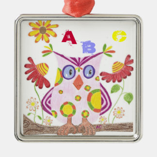 Light pink owl teacher gift premium ornament