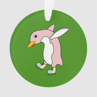 Light Pink Penguin with Yellow & Blue Ice Skates