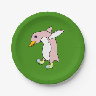 Light Pink Penguin with Yellow & Blue Ice Skates 7 Inch Paper Plate