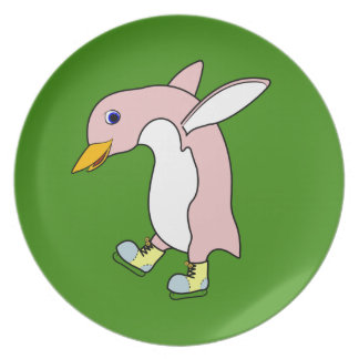 Light Pink Penguin with Yellow & Blue Ice Skates Party Plates