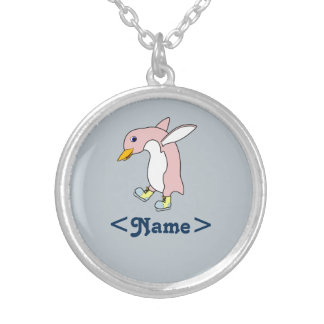 Light Pink Penguin with Yellow & Blue Ice Skates Round Pendant Necklace
