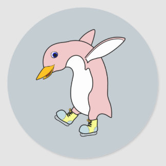 Light Pink Penguin with Yellow & Blue Ice Skates Round Sticker
