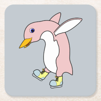 Light Pink Penguin with Yellow & Blue Ice Skates Square Paper Coaster