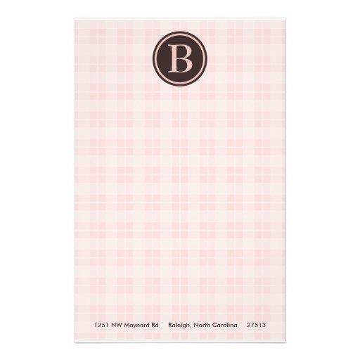 Light Pink Plaid Monogram Stationary Stationery Paper