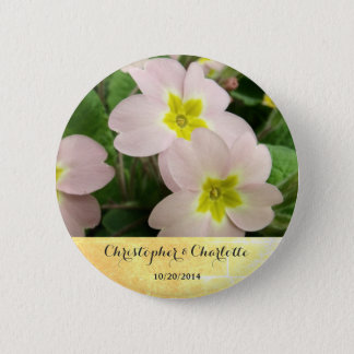 Light Pink Primrose Flowers Custom Wedding 6 Cm Round Badge